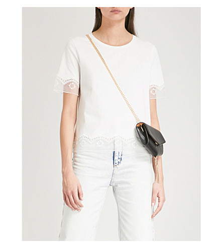 SANDRO Lace-trim cotton-jersey T-shirt (Ecru