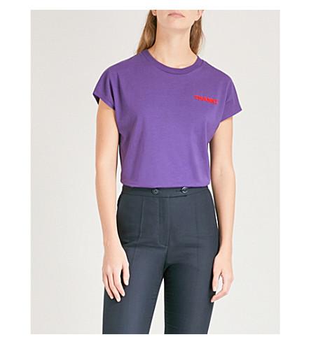 SANDRO Thanks cotton-jersey T-shirt (Violet
