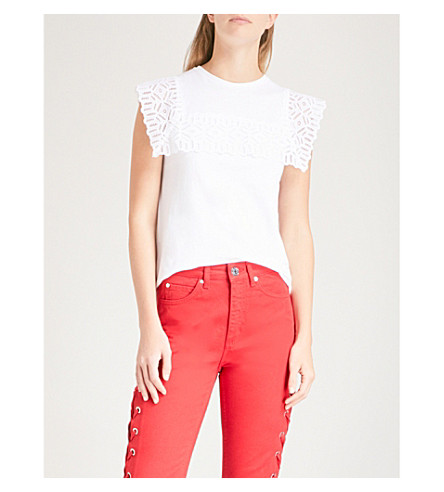 SANDRO Lace-panelled cotton T-shirt (Ecru