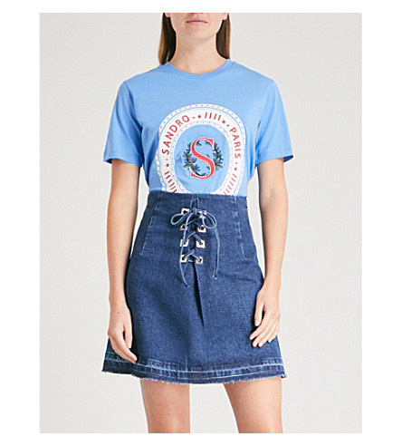 SANDRO Brand-embroidered cotton T-shirt (Bleu
