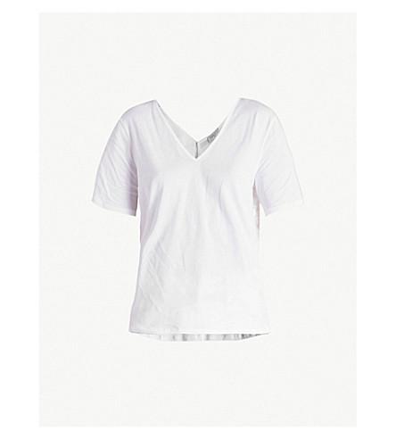 SANDRO Floral-lace cotton-jersey T-shirt (Blanc