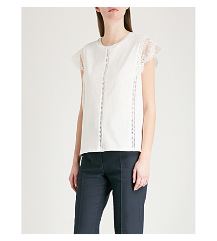 SANDRO Ladder-detail lace-panelled cotton top (Ecru