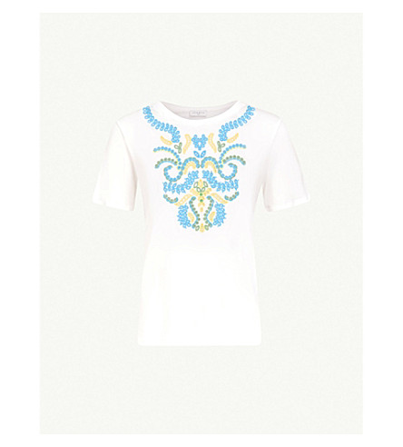 SANDRO Floral-embroidered cotton-blend T-shirt (Blanc