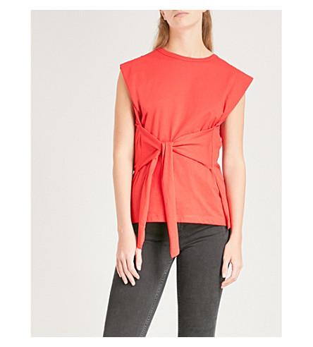SANDRO Tie-detail cotton-jersey T-shirt (Rouge+cerise