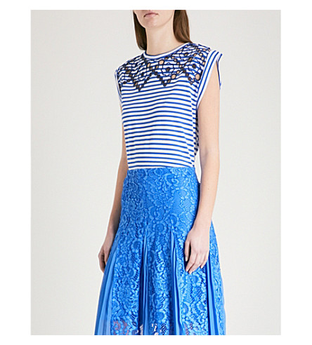 SANDRO Embroidered striped cotton-jersey T-shirt (Bleu+nuit
