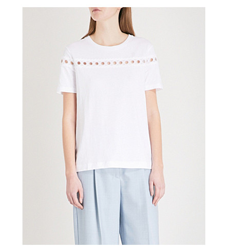 SANDRO Cut-out cotton T-shirt (Blanc