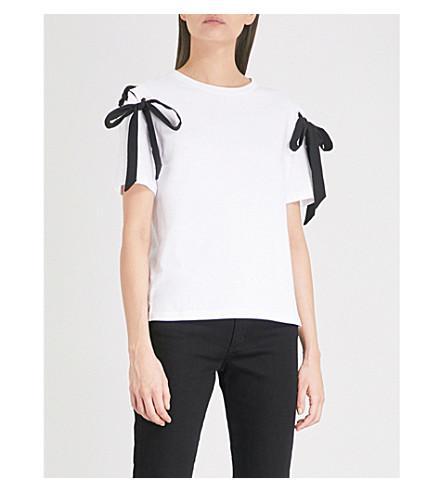 SANDRO Tie-detail cotton-jersey T-shirt (Ecru