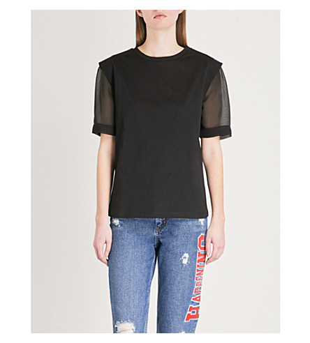 SANDRO Contrast-sleeve cotton and chiffon T-shirt (Noir