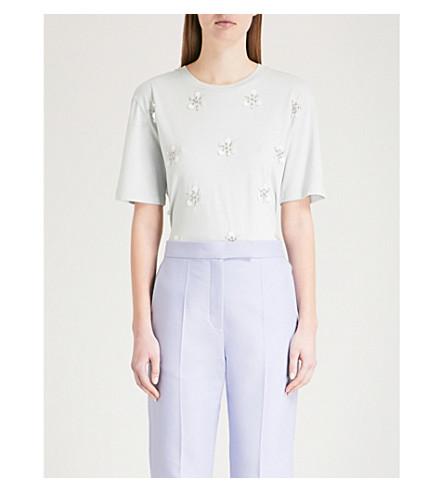 SANDRO Floral-embellished cotton-blend T-shirt (Blue