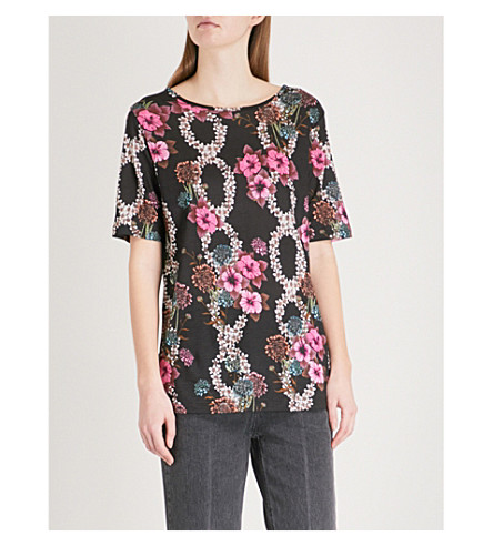 SANDRO Floral-print jersey top (Noir