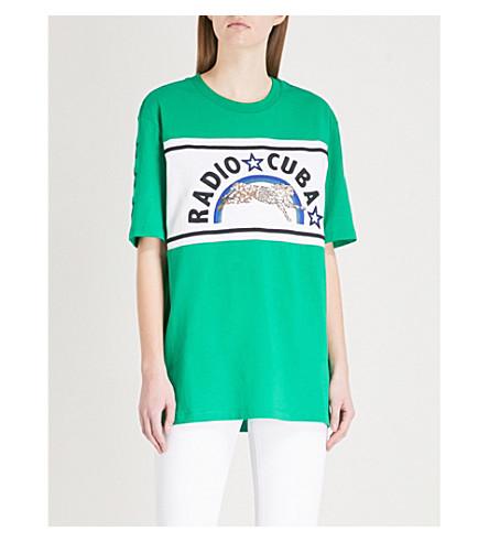 Best Place Cheap Price SANDRO Radio Cuba cotton-jersey T-shirt Vert amande Cheap Very C4EwKO