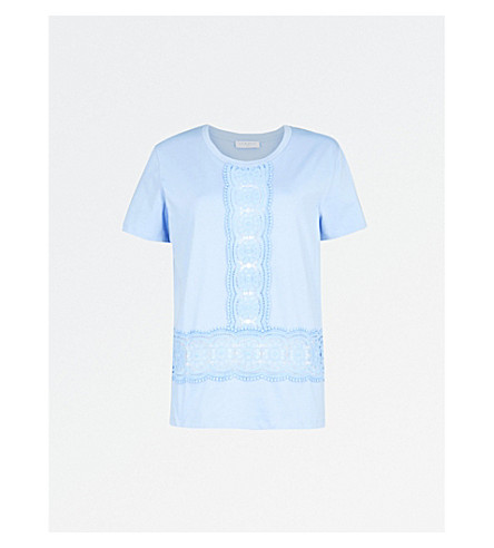 SANDRO Lace insert cotton T-shirt (Bleu+ciel