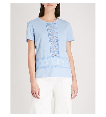 SANDRO Lace insert cotton T-shirt (Bleu+ciel