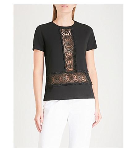 SANDRO Lace insert cotton T-shirt (Noir