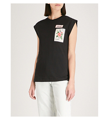 SANDRO Embroidered patch capped sleeve T-shirt (Noir