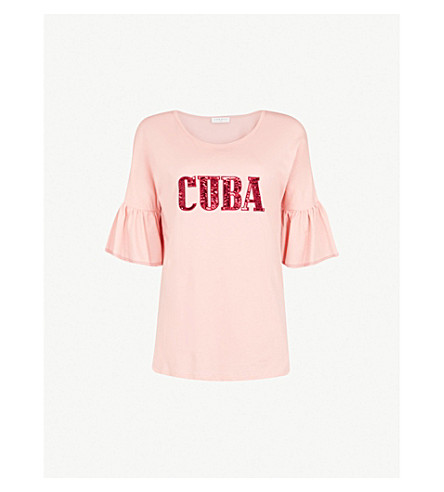 SANDRO Cuba embroidered T-shirt (Rose