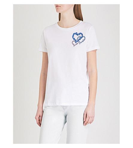 SANDRO Floral-motif cotton T-shirt (Blanc