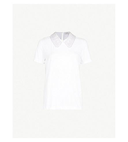 SANDRO Peter Pan collar T-shirt (Blanc