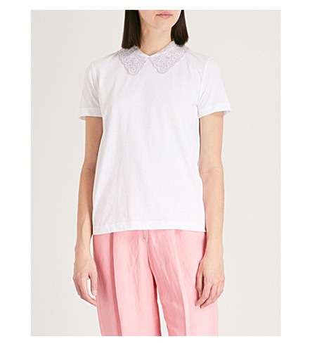 SANDRO Peter Pan collar T-shirt (Blanc