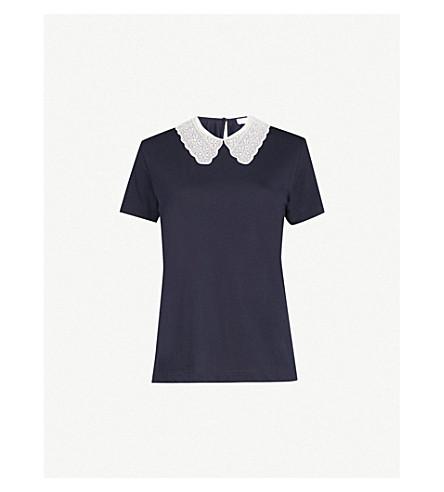 SANDRO Peter Pan collar T-shirt (Marine