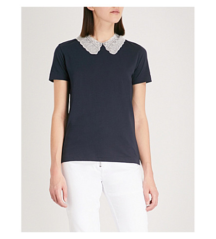 SANDRO Peter Pan collar T-shirt (Marine