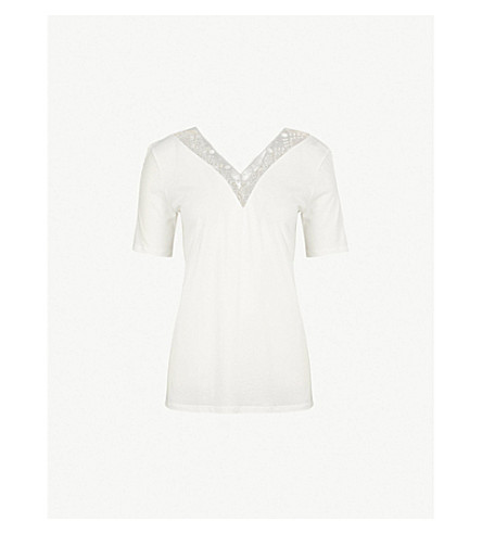 SANDRO Lace-trim cotton-jersey T-shirt (Ecru