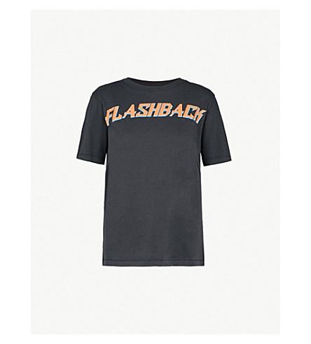 SANDRO 闪回打印平纹针织棉 T 恤 (伪 + 黑色