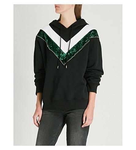 SANDRO V-shaped stripes cotton-jersey hoody (Black