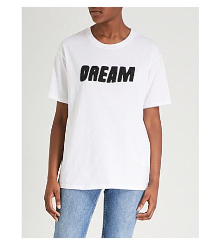 SANDRO Dream embellished cotton-jersey T-shirt (Blanc