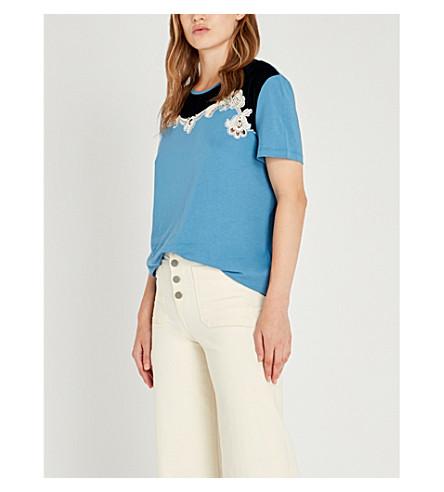 SANDRO 花卉刺绣棉混纺 T 恤 (蓝 + 希尔)