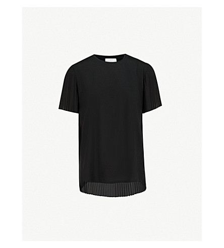 SANDRO 褶细节平纹针织棉和雪纺 T 恤 (黑色
