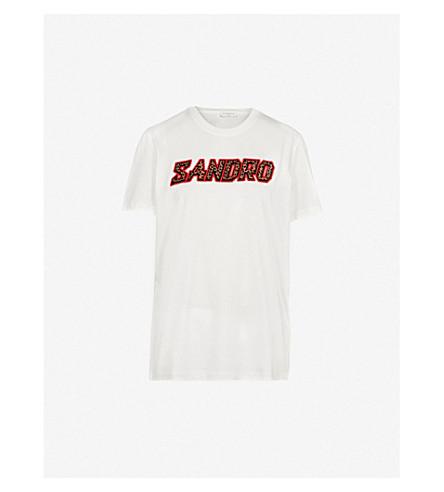 SANDRO 徽标打印平纹针织棉 T 恤 (本色