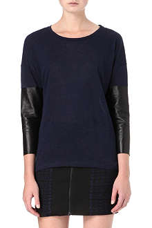 SANDRO Tube leather-sleeve top
