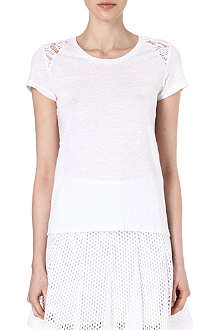 SANDRO Mesh and lace detail t-shirt