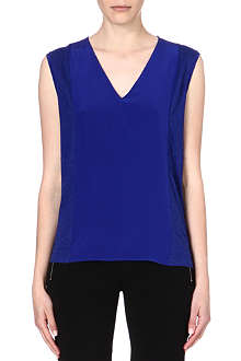 SANDRO Silk-blend v-neck top