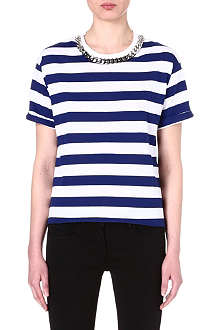 SANDRO Chain-detail striped t-shirt