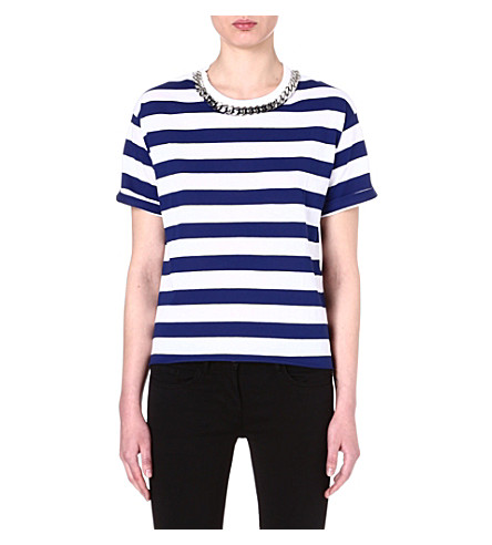 SANDRO Chain-detail striped t-shirt (Blue