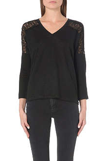 SANDRO Tilda lace-insert long-sleeved top