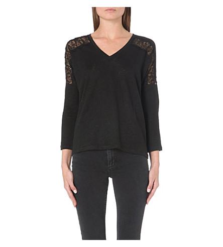 SANDRO Tilda lace-insert long-sleeved top (Black