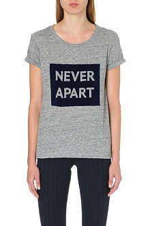 SANDRO Flocked text print cotton t-shirt