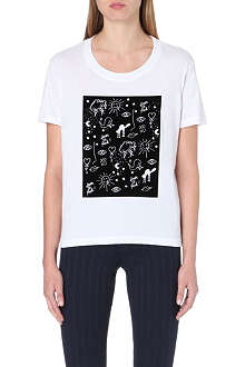 SANDRO Flocked print cotton t-shirt