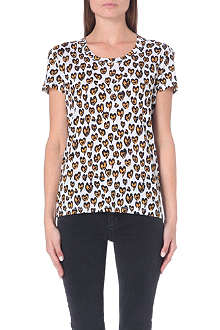 SANDRO Animal-print jersey t-shirt