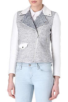 SANDRO Vernis tweed biker jacket