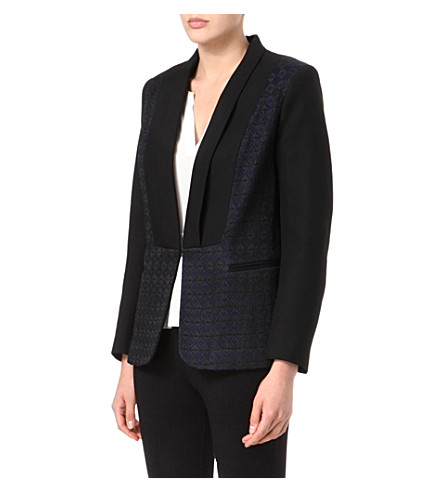 SANDRO Virevolter jacquard blazer (Black
