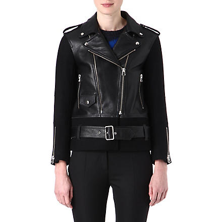 SANDRO Version leather and wool biker jacket (Black