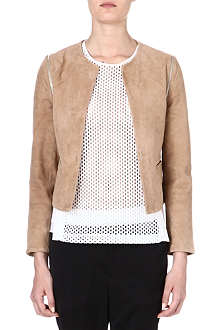 SANDRO Valse leather detachable-sleeved jacket