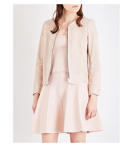 SANDRO Scallop-edged leather jacket (Sand