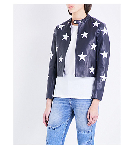SANDRO Star motif leather jacket (Navy+blue