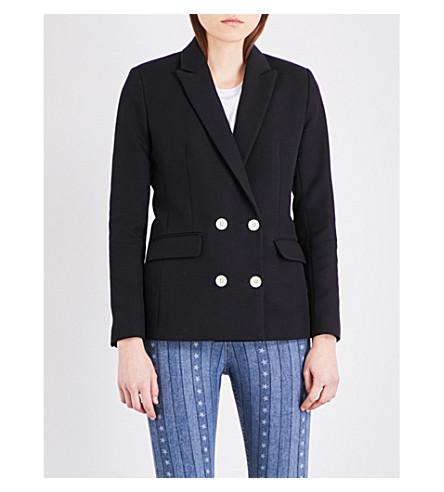 SANDRO Double-breasted woven jacket (Black
