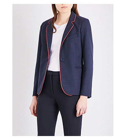 SANDRO Single-breasted woven jacket (Navy+blue